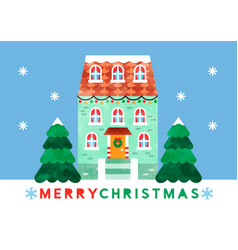 merry christmas cute watercolor cartoon house card vector image