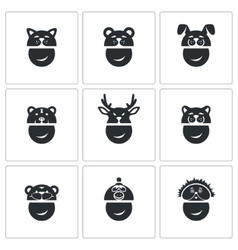 New Years mask Icons Set vector image