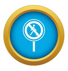 No pedestrian sign icon blue isolated vector