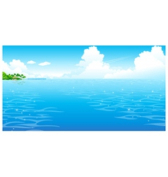 Ocean with clouded sky vector image