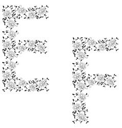 ornamental letter ef vector image