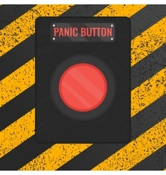 Panic button sign on yellow striped background vector
