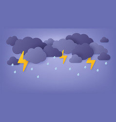 Paper cut rain rainy sky with cloud vector