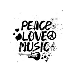 Peace love music hand drawn lettering vector