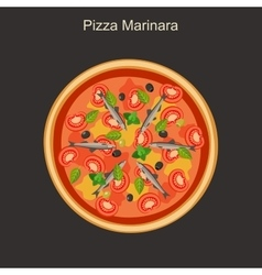 Pizza marinara with anchovies vector image