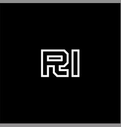 R i letter logo design on black color background vector