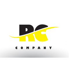 Rc r c black and yellow letter logo with swoosh vector