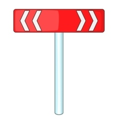 Red road sign direction pointer icon cartoon style vector image