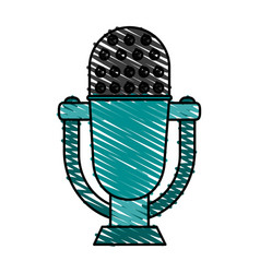 Retro old microphone icon vector