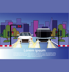 road traffic with car and bus at night over city vector image
