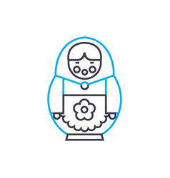 Russian doll linear icon concept russian doll vector