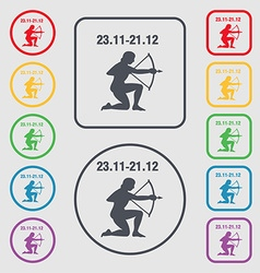 Sagittarius icon sign symbol on the Round and vector image