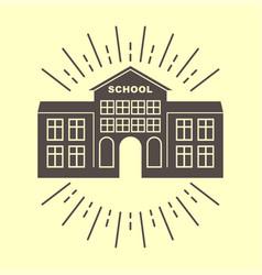 School building retro logo badge vector
