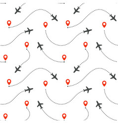 seamless pattern aircraft routes airplane vector image