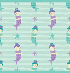 seamless pattern background with mermaid girls vector image