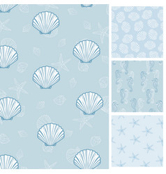 Seashell seamless pattern scallop background vector