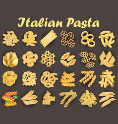 set kinds italian pasta vector image