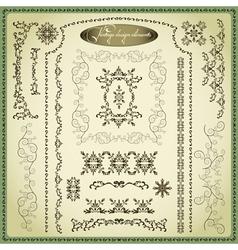 Set of decorative elements for design vintage vector image