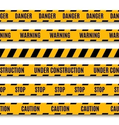 Set of yellow warning tapes vector image