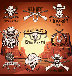 set wild west emblems on background vector image