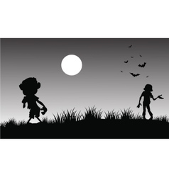 Silhouette of zombie halloween with gray vector