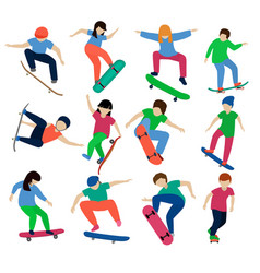 skateboarders boy or girl characters vector image