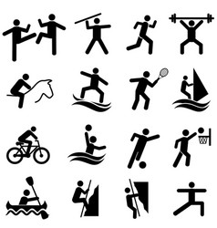 sports fitness activity and exercise icon set vector image