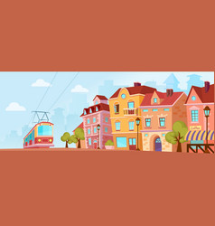 sunny historical city street old city banner with vector image