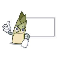 Thumbs up with board bamboo shoot character vector