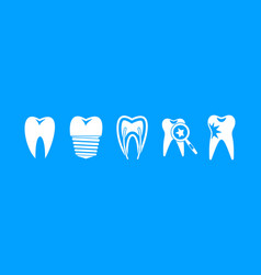 tooth icon blue set vector image
