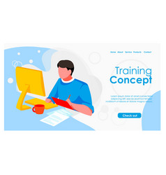 Training concept landing page template vector