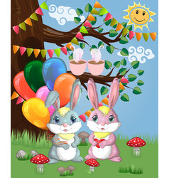 two cute bunny with balls in a forest glade boy vector image