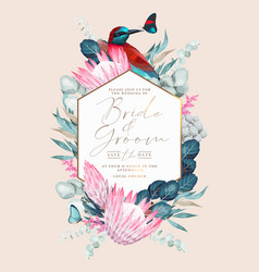 Vintage card with flowers and bird vector