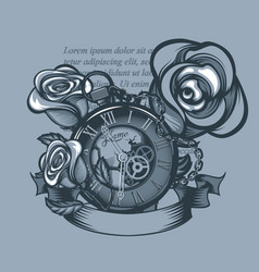 vintage clock and three roses around monochrome vector image