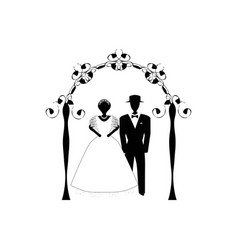 vintage graphic chuppah arch jewish wedding vector image