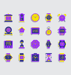 watch patch sticker icons set vector image