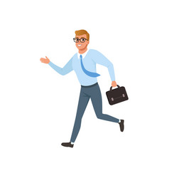 Young man running in a hurry people activity vector