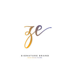 Z e ze initial letter handwriting and signature vector