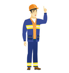 Builder with open mouth pointing finger up vector