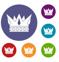 Cog crown icons set vector