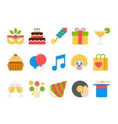 party holiday birthday flat icons set vector image vector image