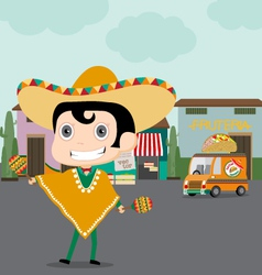 Taco man and his Truck vector image