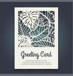 Beautiful card with palm tree leaves vector