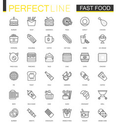 Fast food thin line web icons set outline stroke vector