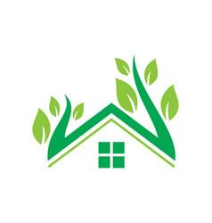 home nature leaf ecology logo vector image
