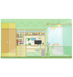 room with workplace flat stylized cartoon vector image