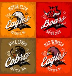 Vintage american furious eagle boar and cobra vector