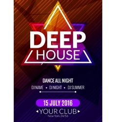 Club electronic deep house music poster Musical vector image
