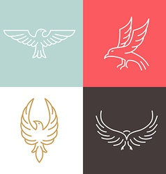 eagle and falcon linear logos vector image vector image