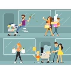 Happy shopping people with bags vector image vector image